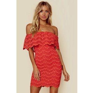 Nightcap Bachelorette Mini Dress in Guava